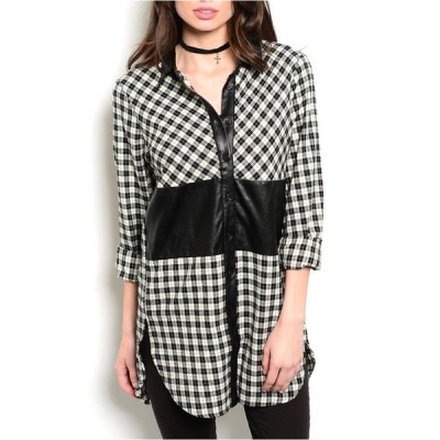 トップス ブラウス 海外セレクション JED Women's Long Length Plaid Shirt with Faux Leather Detailing