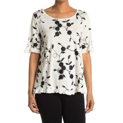 フォーゴットングレイス レディース シャツ トップス Elbow Sleeve Embroidered Ruffle Tee Shirt WHITE/BLACK