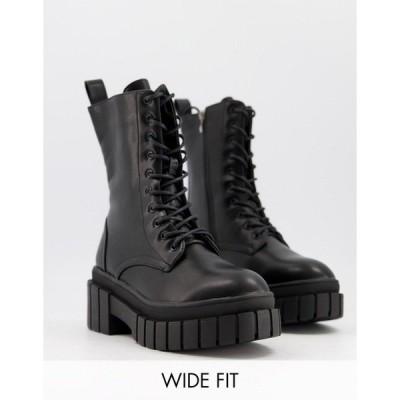 トゥラッフル レディース ブーツ&レインブーツ シューズ Truffle Collection wide fit chunky lace up ankle boots in black Black