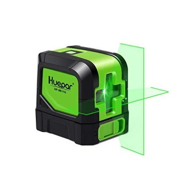 Huepar Cross Line Laser - DIY Self-Leveling Green Beam Horizontal and Vertical Line Laser Level with 100 Ft Visibility, Bright Laser with Ma