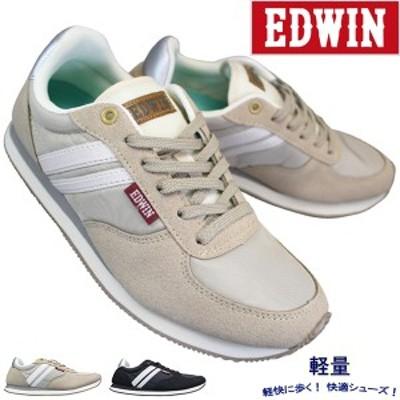 エドウィン EDW-4170 ベージュ ブラック レディース シューズ スニーカー 婦人靴 紐靴 EDWIN