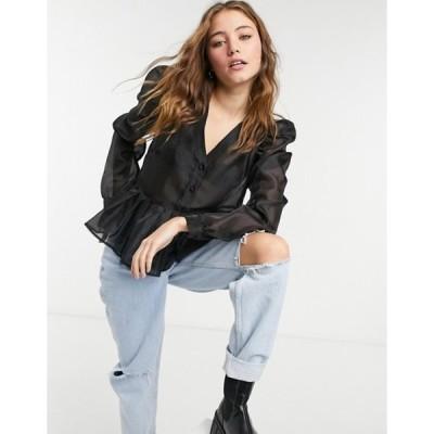ピーシーズ レディース シャツ トップス PIECES organza blouse with volume sleeves and peplum in black