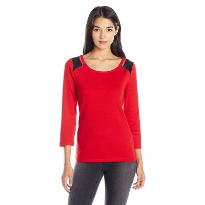 Rafaella Women's Misses Cotton Tee with Pleather Shoulders and Zips, H