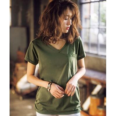 (GeeRA/ジーラ)裾ギャザー美ラインVネックTシャツ/レディース カーキ
