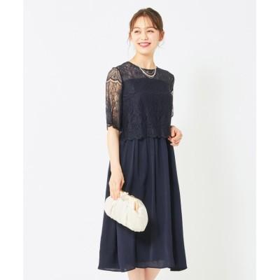 (anySiS/エニィ スィス)【洗える】チュールレースフレア ドレス/レディース ネイビー
