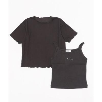 tシャツ Tシャツ シアートップス&キャミ2Pセット