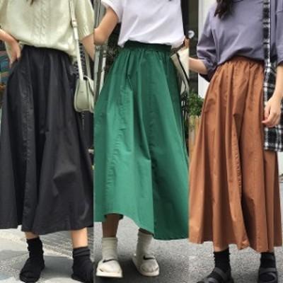 スカート ロング丈 ミモレ丈 フレア 黒 緑 ブラウン 大きいサイズ 2-3XL #2989