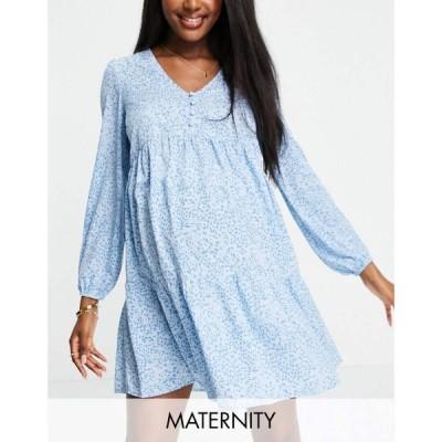 ニュールック New Look Maternity レディース ワンピース ワンピース・ドレス Long Sleeve Smock Dress In Blue Pattern ブルー