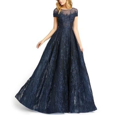 マックダガル ワンピース トップス レディース Cap-Sleeve Embroidered Ball Gown Midnight Blue