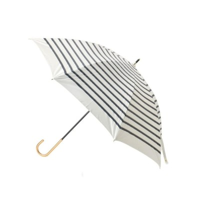 グローブ grove 遮光遮熱ロープボーダーパラソル(長傘) (オフホワイト)