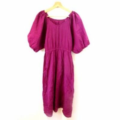 【中古】アズノウアズ ピンキー AS KNOW AS PINKY ワンピース ひざ丈 ボリューム袖 半袖 パープル 紫 フリーサイズ SSS8 レディース