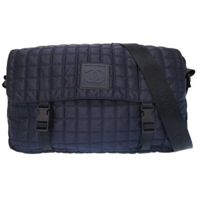 美品 シャネル スポーツライン ネイビー ナイロン ココマーク チョコバー メッセンジャーバッグ バッグ 9番台 紺 0171 CHANEL メンズ