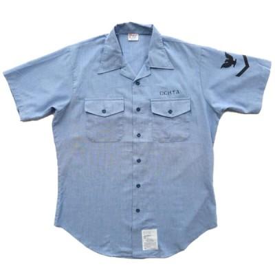 USA製 navshirt シャンブレーシャツ USN 半袖 サイズ表記:M