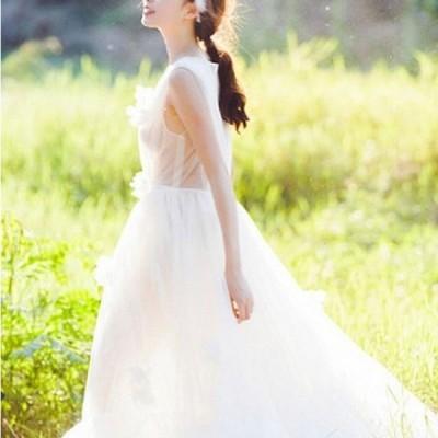 ウェディングドレス 結婚式 二次会 ホワイト 花嫁 ウェディング マキシ丈 ノースリーブ  白ドレス ロングドレス 披露宴 ハイウエスト ブライダル Vネック