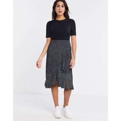 ヴェロモーダ レディース ワンピース トップス Vero Moda 2-in1 midi dress with sheer skirt in black