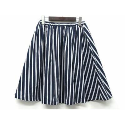 【中古】ルノンキュール Lugnoncure スカート フレア ミニ ストライプ 紺 白 ネイビー ホワイト M レディース