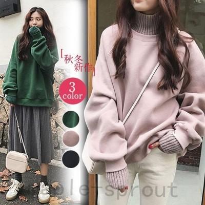 パーカーTシャツ-長袖-ドレス-韓国-ファッション ニット 無地 長袖