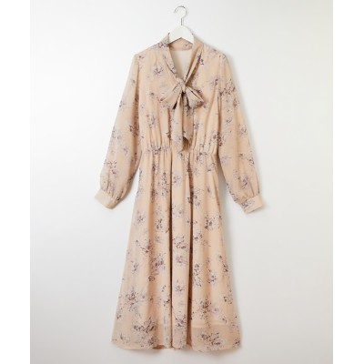シフォン花柄プリントボウタイワンピース (ワンピース)Dress