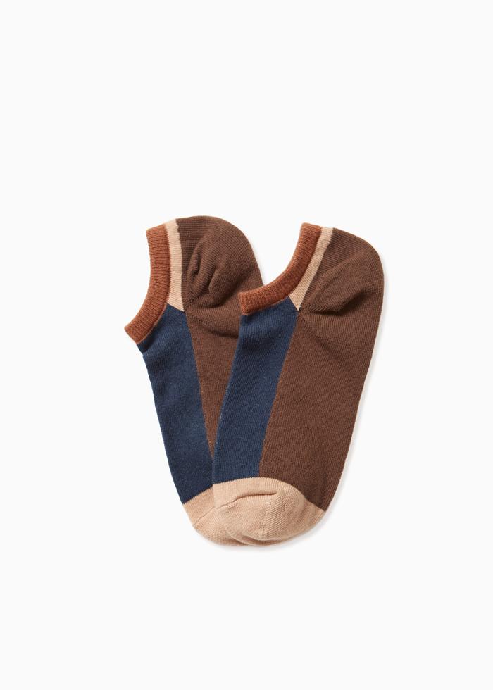 (男款)原色分界.舒棉船型襪(深藍/褐-色塊)