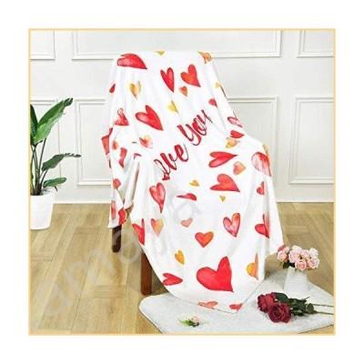 ASPMIZ バレンタインデー用スローブランケット Love You ベッドブランケット ラブハート ソフトで暖かいブ