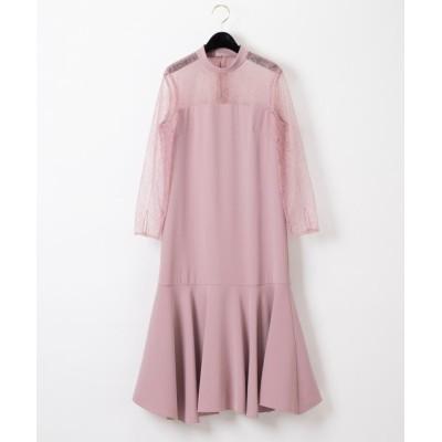 (GRACE CONTINENTAL/グレースコンチネンタル)レース切替ドレス/レディース ピンク