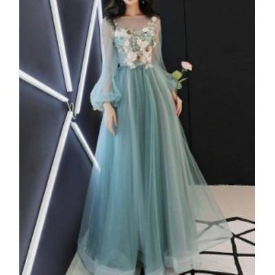 パーティードレス ロング 結婚式 大きいサイズ 長袖 ワンピースドレス お呼ばれドレス チュール シースルー レース ハイウエスト Aライン