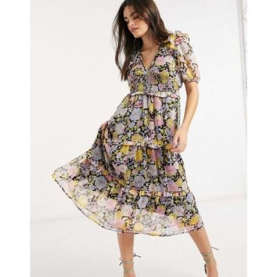 ネオンローズ Neon Rose レディース ワンピース ティアードドレス ティアードスカート midi dress with tiered ruffle skirt and bow back in floral