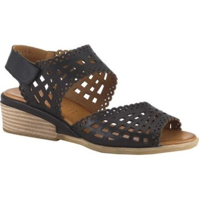 スプリングステップ Spring Step レディース サンダル・ミュール ウェッジソール シューズ・靴 Petra Two Piece Wedge Sandal Black Leather