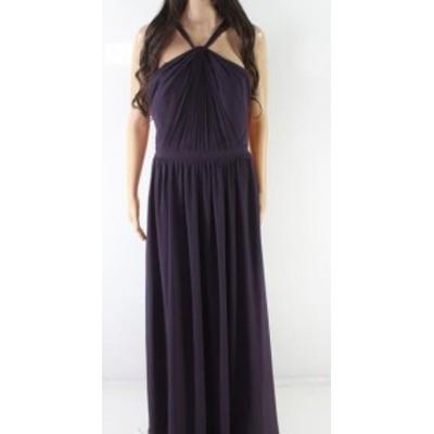 ファッション ドレス Levkoff NEW Purple Womens Size 8 Halter Pleat-Front Sheath Dress