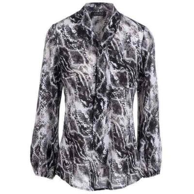 カスパー カットソー トップス レディース Snakeskin-Print Tie-Neck Blouse Black Multi
