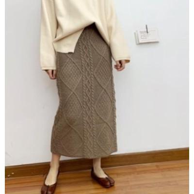 韓国 ファッション レディース ニット スカート ロング ケーブル編み ハイウエスト タイト ウエストゴム カジュアル シンプル 大人可愛い