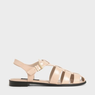 【2020 SUMMER】パテントレザー ケージドサンダル / Patent Leather Caged Sandals (Light Pink)