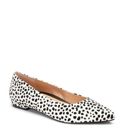 バイオニック レディース サンダル シューズ Lena Suede Spot Leopard Ballet Flats White Black