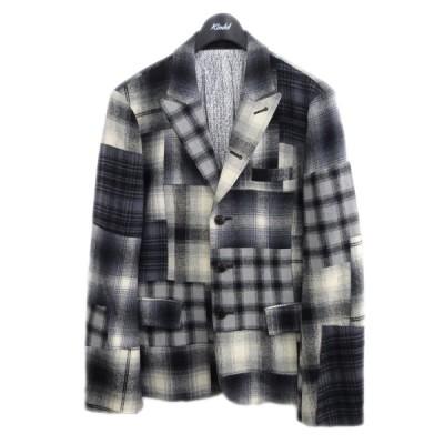 NUMBER (N)INE 07AW パッチワークチェックジャケット グレー×ホワイト サイズ:2 (原宿店) 210115