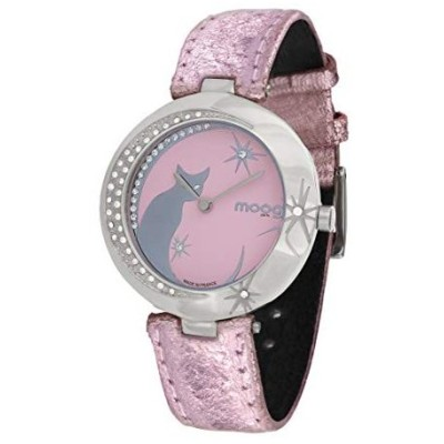 Moog Paris Lucille Women's Watch with Pink Dial, Pink Genuine Leather Strap & Swarovski Elements - M44912-002 並行輸入品