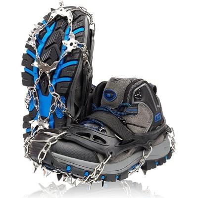 アイゼン スパイク 19本爪 登山 雪山 トレッキング 簡単装着 収納袋付き 男女兼用 L(ブラック, L(25.5〜28.0cm))