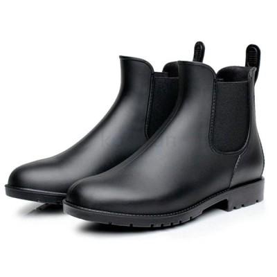 レインブーツ レディース ショート ローヒール サイドゴア 無地 ブラウン ブラック 全2色 レインシューズ 雨靴 防水 レイングッズ おしゃれ