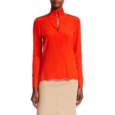 アクリス レディース シャツ トップス Stand-Collar Long-Sleeve Silk Blouse