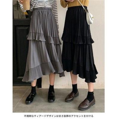 不規則裾 プリーツスカート ロングスカート  スカート レトロ ティアードスカート ウエストゴム Aライン マキシスカート ロング 978
