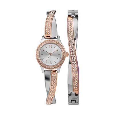 Timex Women's Swarovski Crystal 23mm Watch & Bracelet Gift Set ? Rose Gold Two-Tone【並行輸入品】