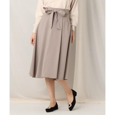 スカート ウエストリボンラップ風フレアスカート