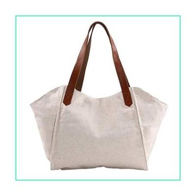 RunFu Original Women's Tops Handle Simple Style Vintage Canvas Bag Handbag Shopping Bag Lady Girl student, Beige, Free並行輸入品