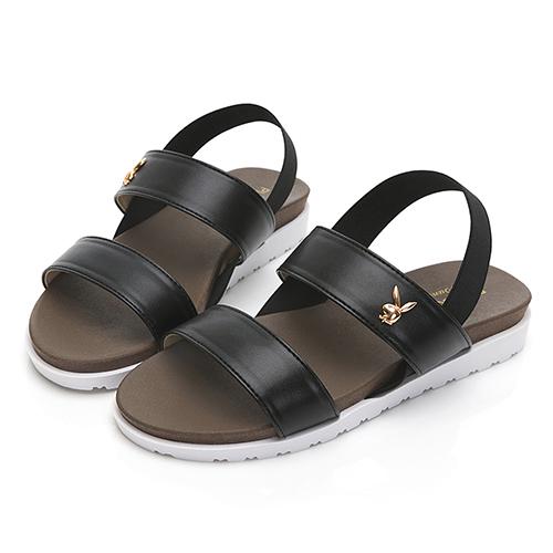 PLAYBOY自在夏日 簡約素色一字涼拖鞋-黑(Y6298)