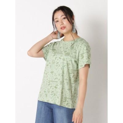 【大きいサイズ】【LL-5L展開】バンダナ総柄Tシャツ 大きいサイズ トップス・チュニック レディース
