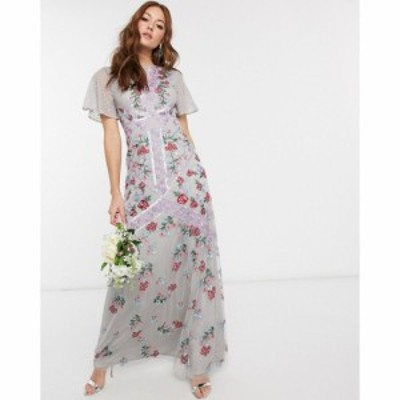 マヤ Maya レディース パーティードレス マキシ丈 Bridesmaid all over floral embellished fluted sleeve maxi dress in silver グレー