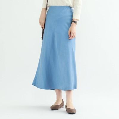 インディヴィ INDIVI 【ハンドウォッシュ】ペールサテンマキシスカート (サックス)