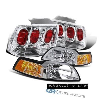 ヘッドライト 99-04 Ford Mustangクリアヘッドライトヘッドランプ+リアテールブレーキライト 99-04 Ford Mustang Cl