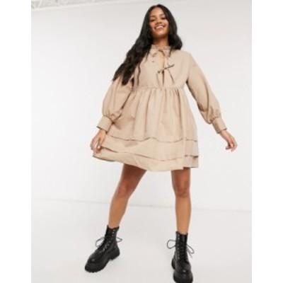エイソス レディース ワンピース トップス ASOS DESIGN cotton poplin tie front mini smock dress with pin tucks in stone Stone