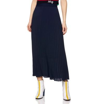 BENETTON (women) ソリッドカラーロングプリーツスカート(ネイビー)【返品不可商品】