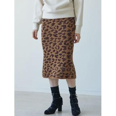 【ラグナムーン/LAGUNAMOON】 レオパードジャガードニットスカート
